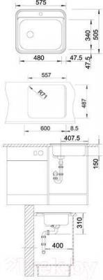 Мойка кухонная Blanco Dana-IF (514646) - габаритные размеры