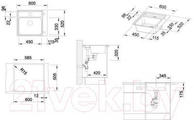 Мойка кухонная Blanco Statura Crystal Line (516029) - габаритные размеры