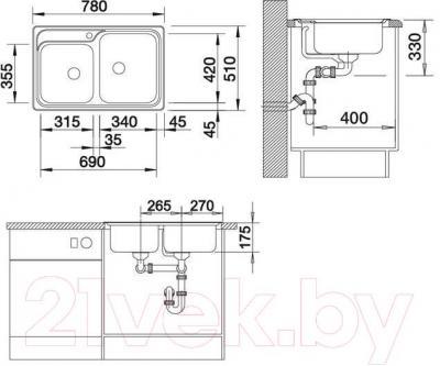 Мойка кухонная Blanco Classic 8 (507543) - габаритные размеры
