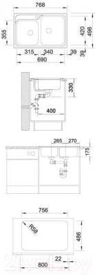 Мойка кухонная Blanco Classic 8-IF (514641) - габаритные размеры