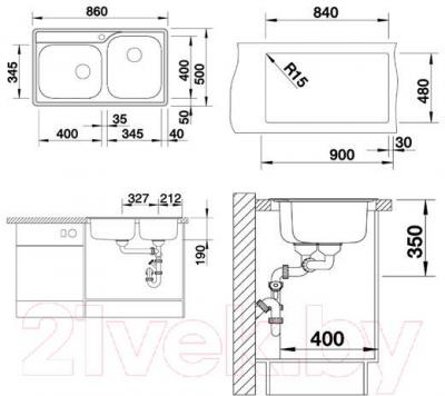 Мойка кухонная Blanco Median 9 (512658) - габаритные размеры