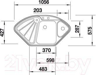 Мойка кухонная Blanco Delta-IF (514626) - габаритные размеры