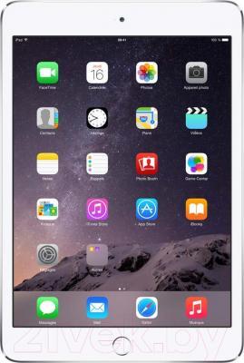 Планшет Apple iPad Mini 3 128Gb 4G / MGJ32TU/A (серебристый) - фронтальный вид