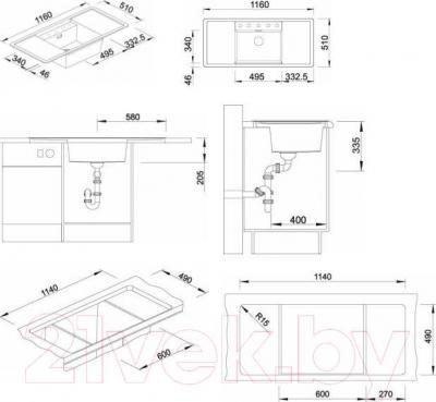 Мойка кухонная Blanco Alaros 6S (516728) - габаритные размеры