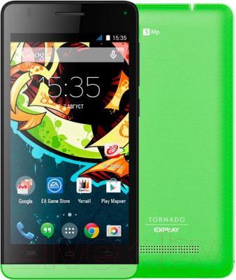 Смартфон Explay Tornado (зеленый) - с задней панелью