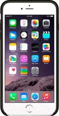 Накладной чехол Apple iPhone 6 Plus Leather Case MGQX2ZM/A (черный) - общий вид на телефоне