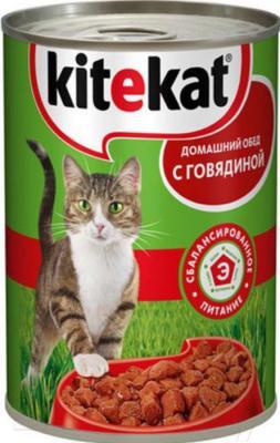 Корм для кошек Kitekat Говядина в соусе (24x410g) - общий вид