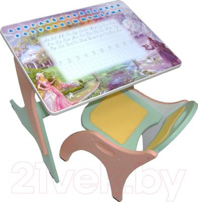Парта+стул Интехпроект Части света 14-384 (голубой и розовый) - общий вид