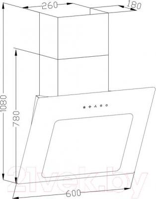 Вытяжка декоративная Backer AH60E-L6 (д.о.200WH, белое стекло)