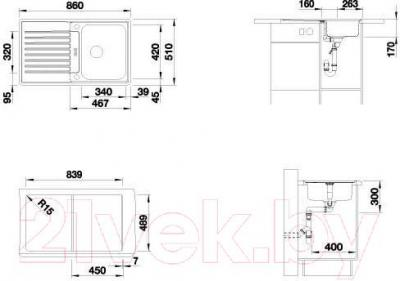 Мойка кухонная Blanco Classic Pro 45S-IF (516842) - габаритные размеры