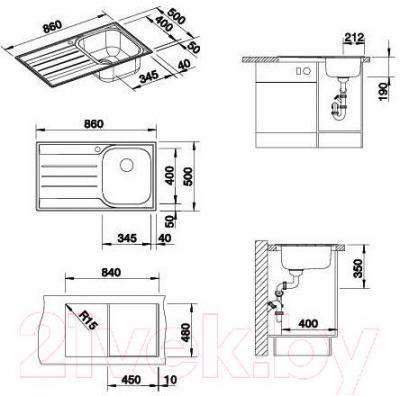 Мойка кухонная Blanco Median 45 S (512660) - габаритные размеры
