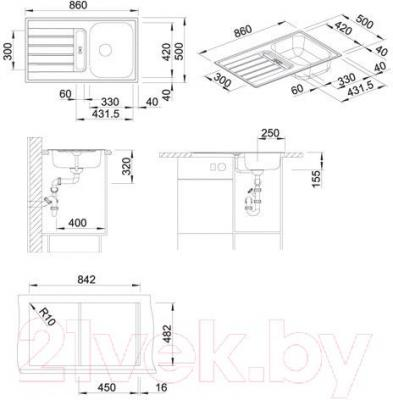 Мойка кухонная Blanco Livit 45 S (514788) - габаритные размеры