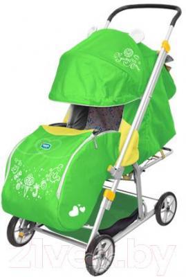 Санки-коляска Ника ЗЛ Гирлянда (зеленые) - общий вид