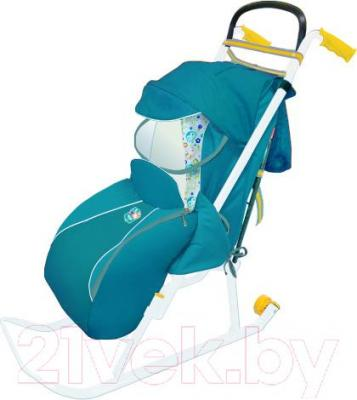 Санки-коляска Ника НД2 (бирюзовый) - общий вид