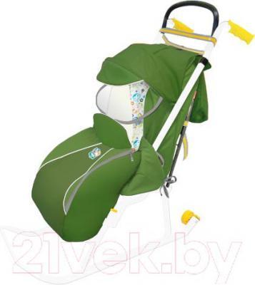 Санки-коляска Ника НД2 (зеленые) - общий вид