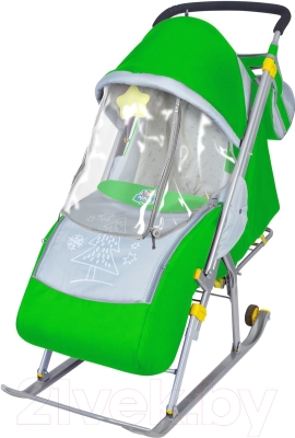 Санки-коляска Ника НД4 (зеленые)