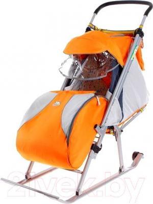 Санки-коляска Ника НД4 (оранжевыe) - общий вид