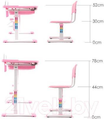 Парта+стул Sundays C304 (розовый) - регулировка высоты