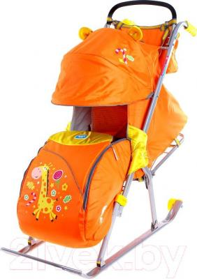 Санки-коляска Ника НД5 Жираф (оранжевыe) - общий вид