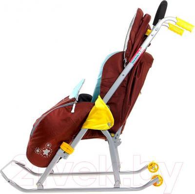 Санки-коляска Ника НД5 Жираф (оранжевыe) - вид сбоку