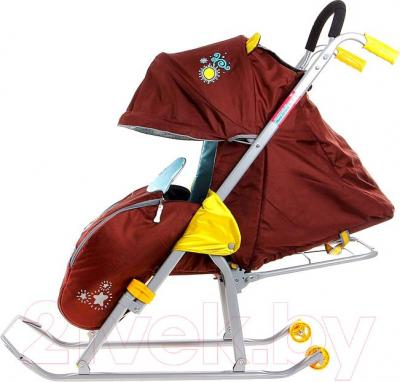 Санки-коляска Ника НД5 Зайка (баклажан) - вид сбоку