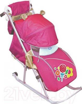 Санки-коляска Ника НД5 Леденец (розовые) - общий вид