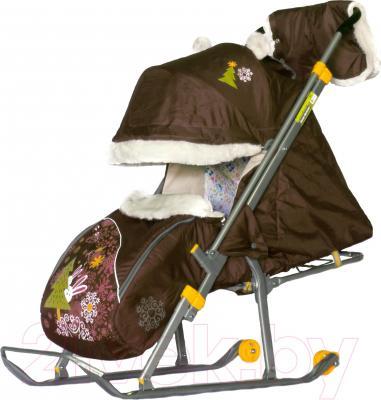 Санки-коляска Ника НД6 Мишка (шоколад) - общий вид