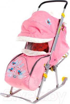 Санки-коляска Ника НД6 Снегири (розовые) - общий вид