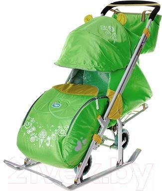 Санки-коляска Ника НД7 Гирлянда (зеленые) - общий вид