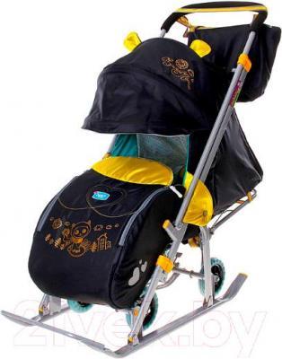 Санки-коляска Ника НД7 Котёнок (чёрные) - общий вид
