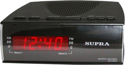 Радиочасы Supra SA-38FM (черно-красный) - общий вид