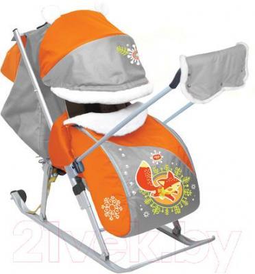 Санки-коляска Ника НД6 Лисёнок (оранжевыe) - общий вид