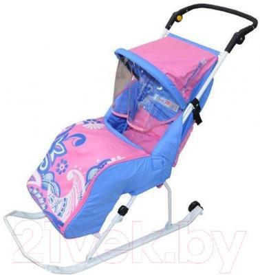 Санки-коляска Тяни-Толкай Комфорт Зимняя сказка (розовые) - общий вид