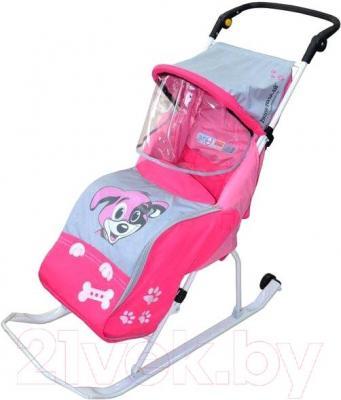 Санки-коляска Тяни-Толкай Комфорт Люкс Любопытный щенок (розовый) - общий вид