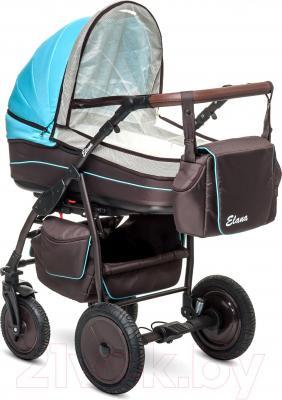 Детская универсальная коляска Anex Elana (коричневый) - москитная сетка (на примере бирюрозового цвета)