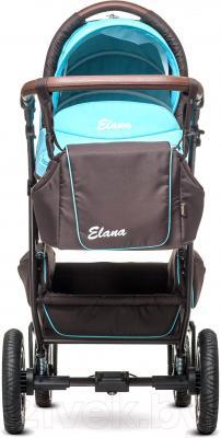 Детская универсальная коляска Anex Elana (коричневый) - вид спереди (на примере бирюрозового цвета)