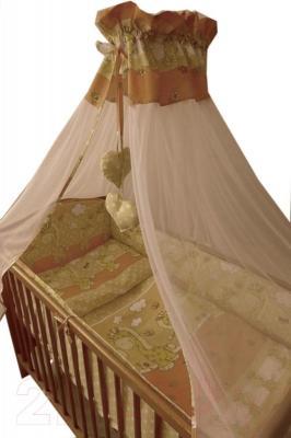 Комплект в кроватку Ankras Стандарт: Горох-Жираф 3 (бежевый) - балдахин в комплект не входит