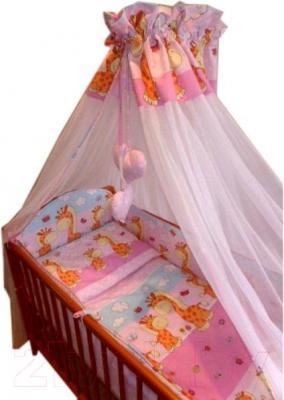Комплект в кроватку Ankras Стандарт: Горох-Жираф 3 (розовый) - балдахин в комплект не входит