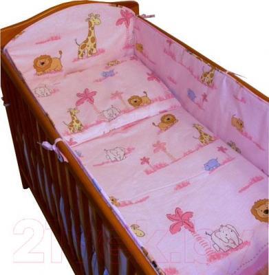 Комплект в кроватку Ankras Стандарт: ЗОО 3 (розовый) - общий вид