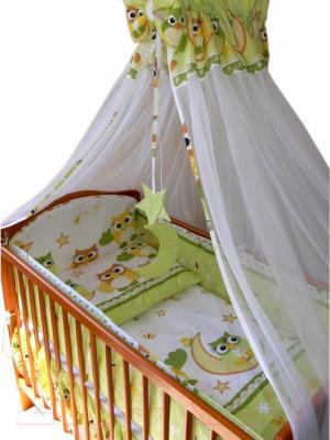 Комплект в кроватку Ankras Совы 3 (зеленый) - балдахин в комплект не входит
