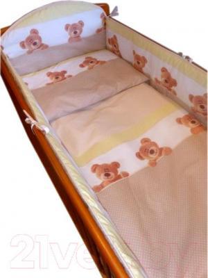 Комплект в кроватку Ankras Стандарт: Мишки-Точки 3 (бежевый) - балдахин в комплект не входит
