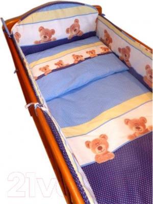Комплект в кроватку Ankras Стандарт: Мишки-Точки 3 (голубой) - балдахин в комплект не входит