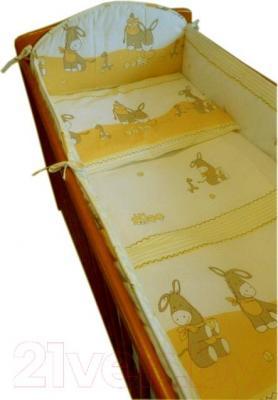 Комплект в кроватку Ankras Стандарт: Ослики 3 (желтый) - общий вид