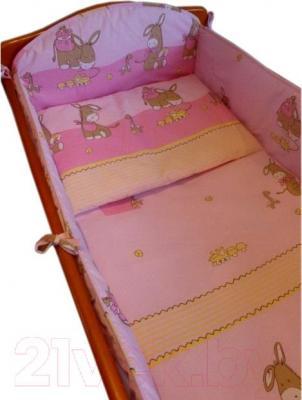 Комплект в кроватку Ankras Стандарт: Ослики 3 (розовый) - общий вид