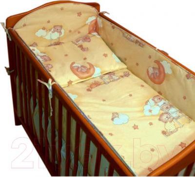 Комплект в кроватку Ankras Стандарт: Мишки на лестнице 3 (желтый) - общий вид