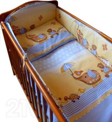 Комплект в кроватку Ankras Стандарт: Слон с зонтиком 3 (голубой) - общий вид