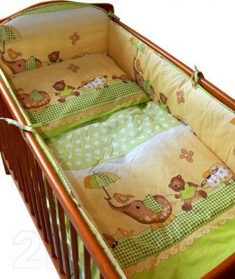 Комплект в кроватку Ankras Стандарт: Слон с зонтиком 3 (зеленый) - общий вид