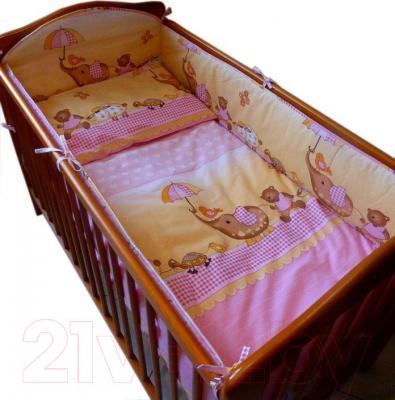 Комплект в кроватку Ankras Стандарт: Слон с зонтиком 3 (розовый) - общий вид