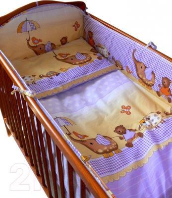 Комплект в кроватку Ankras Стандарт: Слон с зонтиком 3 (фиолетовый) - общий вид