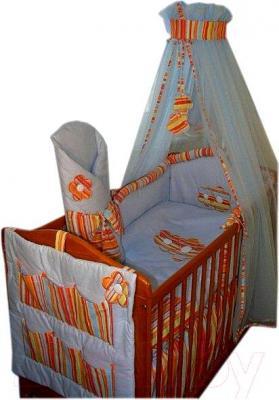 Комплект в кроватку Ankras Цветы 3 (голубой) - балдахин в комплект не входит